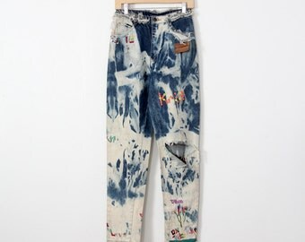 1980s jeans, customed vintage jeans,  rasta denim