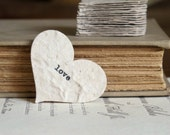 Ivory Love Confetti (20) - Mulberry Paper Typed Hearts - Wedding Table Decor, DIY Favor Tags - Rustic, Vintage-Inspired, Natural, Whimsical