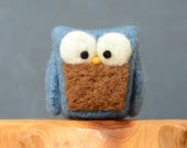Needle Felted Owl, blue grey cobalt wool home whimsical decor play ecofriendly
