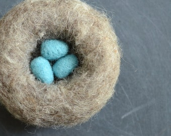 Bird's Nest with Eggs robin egg blue easter decor grey nature eco friendly home decor