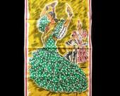 1950'S Tea Towel with Flamenco Dancers-Souvenir-Spain
