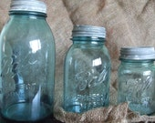 Set of 3 Vintage/Antique Aqua Ball Mason Jars with Zinc lids-Half Gallon, Quart, Pint
