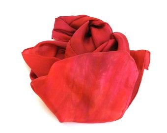 SALE   ...    hand dyed silk scarf  ...  shades of fuchsia and red
