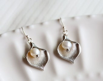 calla lily earrings,bridesmaid gift,flower girl,wedding bridal jewelry,Silver Earrings,Sterling Silver,Bride,Wedding,Bridal