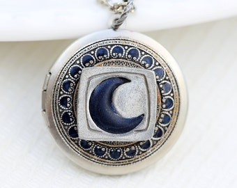 Blue Moon Locket,Jewelry Gift,Silver Locket,Something Blue Locket,Wedding Locket,