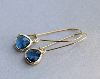 Sapphire earrings,Jewelry Gift, Something blue earrings,Gold Earrings,Gold Earrings, Gold Faceted Earring,Wedding,Bridal, Bridesmaid Gif