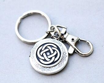 Celtic Keychain,Irish,Key chain,Men,Groosmen,Groom,Father,Dad,Wedding Gift,Infinity Locket