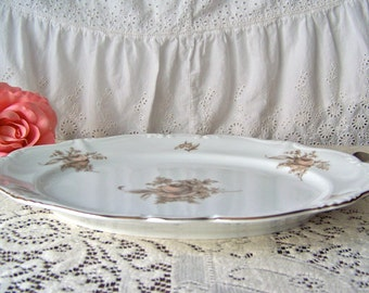 Vintage Serving Platter Sepia Rose Johann Haviland Bavaria Germany NIB Blush Color Roses 1940s