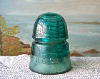 Vintage Glass Insulator Turquoise Green H G Co Hemingray Telephone Pole 1930s