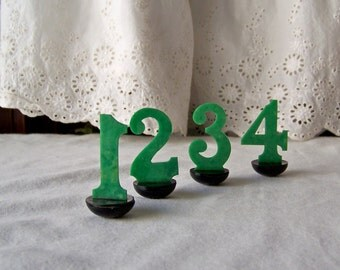 Vintage Cake Topper Numbers Cupcake Toppers Cake Decoration Birthday Party Green Numbers Vintage 1970s