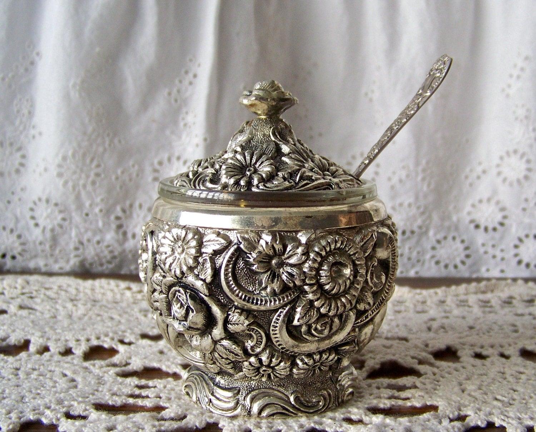 Vintage Preserve Pot Jam Jar With Spoon