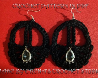 Courgeous Crochet pattern for Earring in PDF.