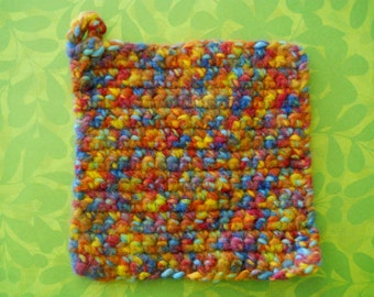 Crocheted/Felted Pot Holder/Table Mat / Multi Color — Yarn Origin: USA