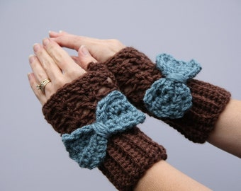 Brown Gloves With a Blue Bow