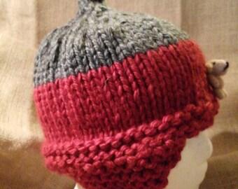 A handmade knit hat.