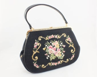 1960s Black Tapestry Purse