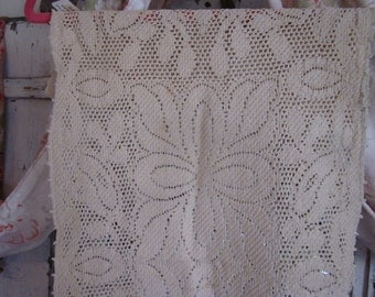 2 Vintage Crochet Table Buffet Runner Tan Floral F1