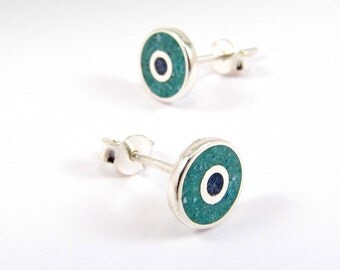Sterling Silver Earrings, Turquoise and Blue Circles, Sea Colors, Ear Studs, Modern, Contemporary