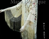 Silk Fringe Jacket Kimono Flapper Coat Embroidered Vanilla Maya Matazaro