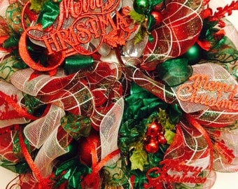 Traditional colored deco mesh wreath