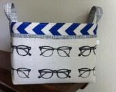Divided fabric organizer bin basket -- Echino glasses