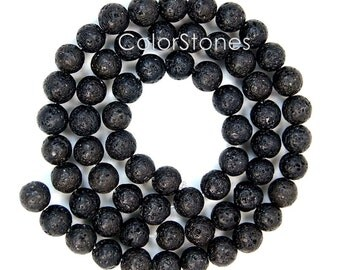 4 , 6, 8 or 10 mm Natural Black Lava Rock Round Beads - Polished or None Polished (NBLR12S)