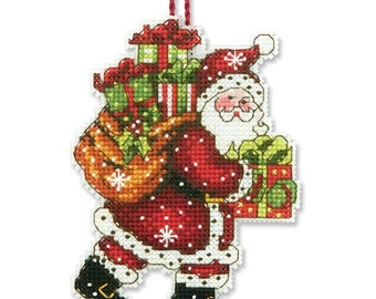 Cross Stitch Kit - Santa with Bag Ornament - Dimensions Santa Christmas Ornament Counted Cross Stitch Dimensions Kit - christmas ornament