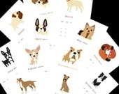 "2014 Calendar. Twelve (12) adorable dog illustrations, one for each month 5.5"" x 8.5"" - squarepaisleydesign"