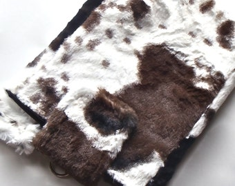 Mini Laptop Sleeve, Cute 10 inch Tablet Case, Tablet Accessories, Lap Top Bag, Tablet Cover - Cow Animal Print Fluffy Faux Fake Fur