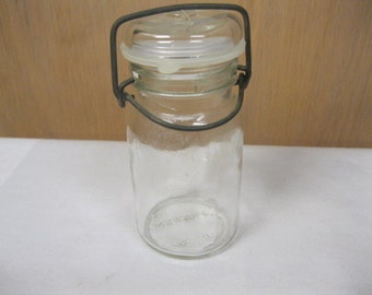 Wheaton U.S.A. Small Vintage Collectible Clear Glass Canning Jar with Wire BaleTop Closure and Plastic Seal Insert Kitchen Storage and Decor