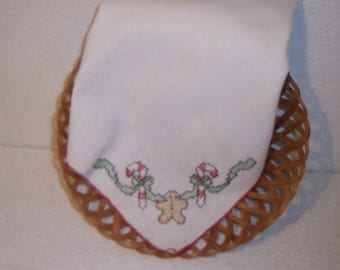 Gingerbread Man with candy canes hand stitched bread cloth