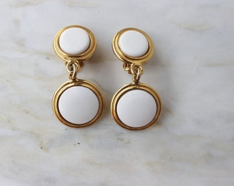 70s White Enamel Gold Earrings 2 Drop Dangle 1970s 80s Clip