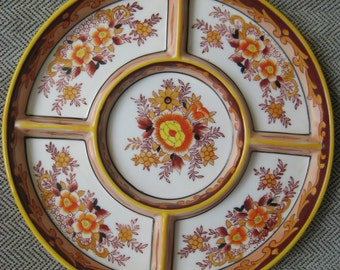 Vintage Peach and Yellow Pottery Serving Tray