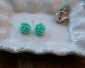 Cabochon Rose Mint Flower Stud Earrings