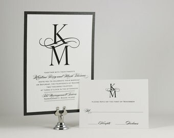 Black and White Wedding Invitation Monogram Wedding Invitation - Sample