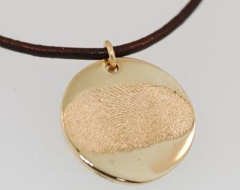 14K Gold Fingerprint Pendant