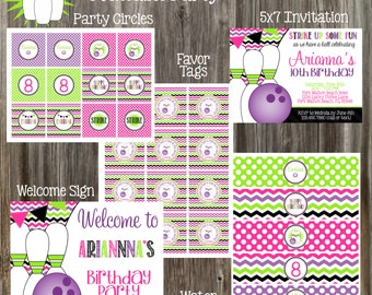 Bowling Birthday Party Package - Girl DIY Printable