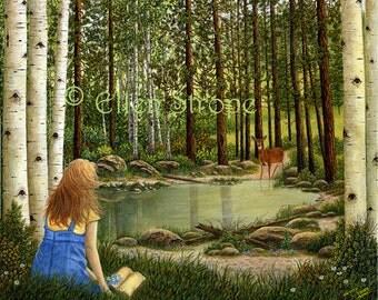 NOTE CARD, Blank Note Card, Girl, Pond, Deer, Aspen Trees, Bible, Water