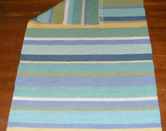 Sale: Large Hand Woven Cotton Area Rug - 4' x 6' in Aquas, blues, greens and yellow