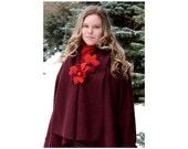 Elegant bordeaux, boucle woolen  lapelcoat   with charming badge of felt flowers