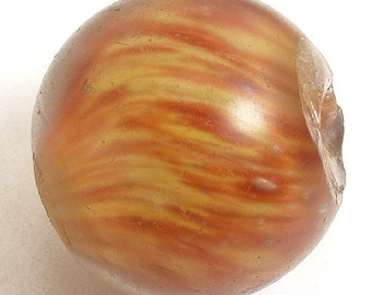 German Marble Glass Round Trade Bead REd Swirls Loose African 58907
