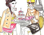 CHRISTMASINJULY2015-Fashion Illustration, Watercolour print. Fine art, Women in French Cafe , Coffee Art, French art, Fashion Home Décor.