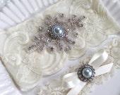 Bridal rhinestone applique heirloom garter set. Cream/ Ivory stretch lace Something Blue Pearl wedding garter. ELOISE