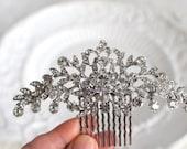 Bridal Swarovski Crystal leaf vine Hair comb. Rhinestone jewel flower wedding Headpiece. JEWEL LEAF