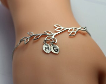 silver initial branch bracelet , Personalized branch bracelet , bridemaid initial bracelet