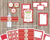 Merry Christmas Baby Shower Invitation Party Package,  Holiday invitation party package (PARTIAL INSTANT DOWNLOAD) - christmas2