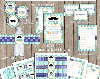 Little man mustache baby shower invitation package, boy baby shower, chevron, blue, green, printable(PARTIAL INSTANT DOWNLOAD) - lm1