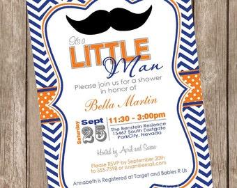 Mustache baby shower invitation moustache baby shower invitation orange and blue baby shower invitation boy baby shower invitation