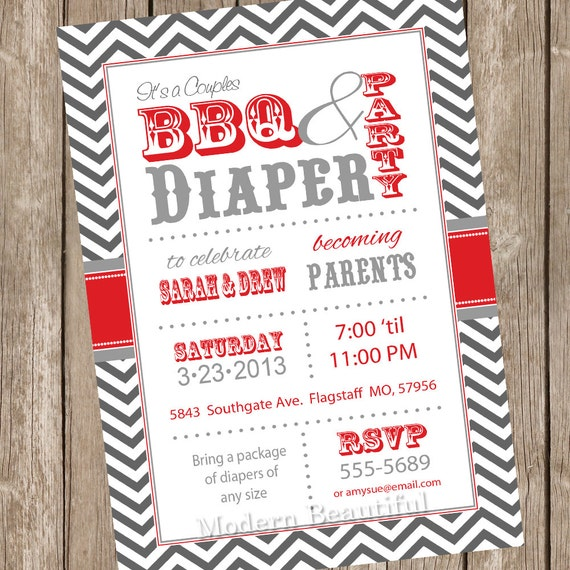 chevron couples bbq and diaper baby shower invitation barbecue red