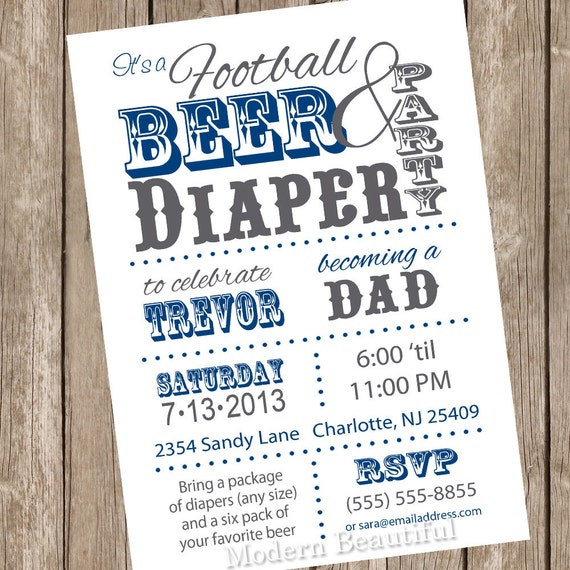football beer and diaper baby shower invitation dad shower invitation